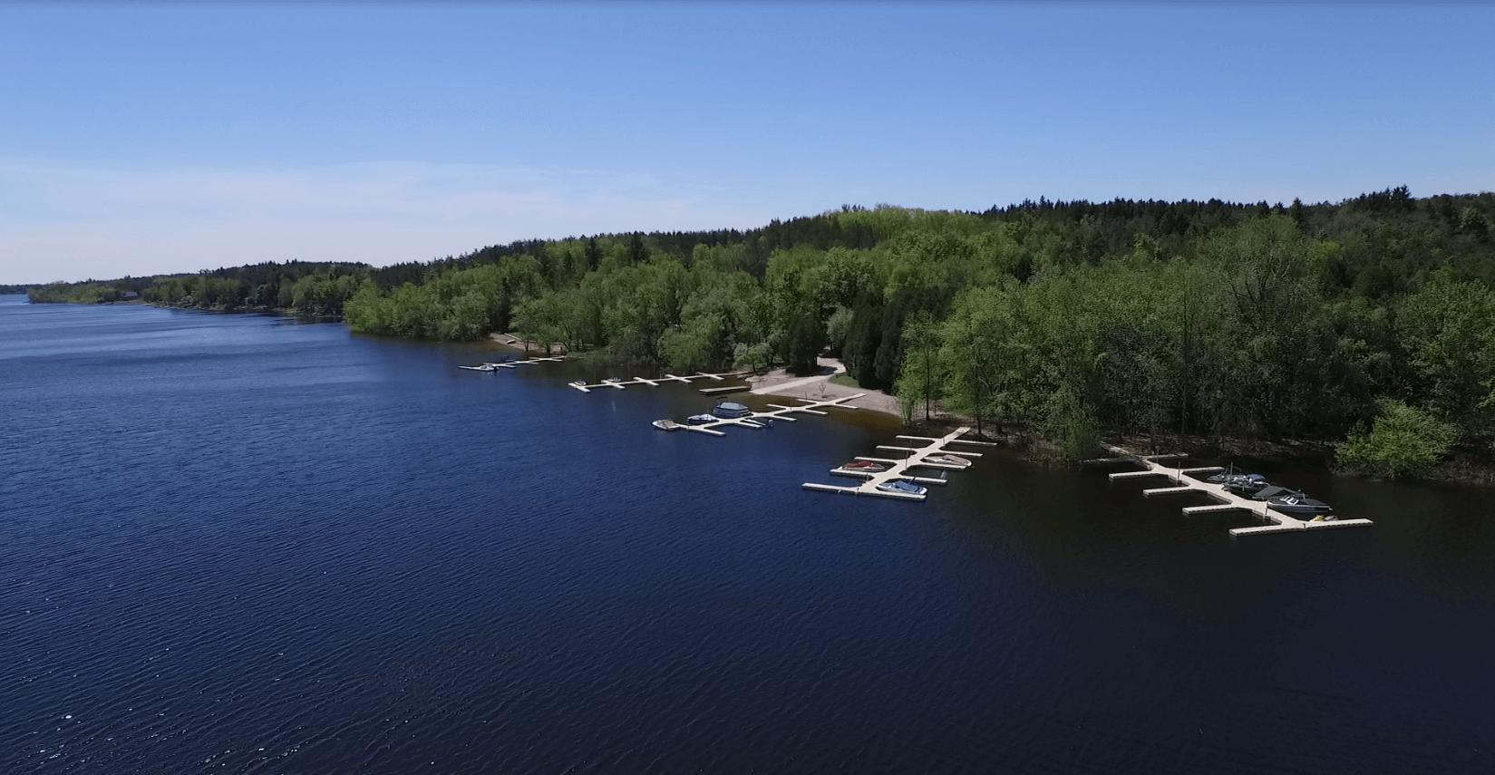wider shot of water docks
