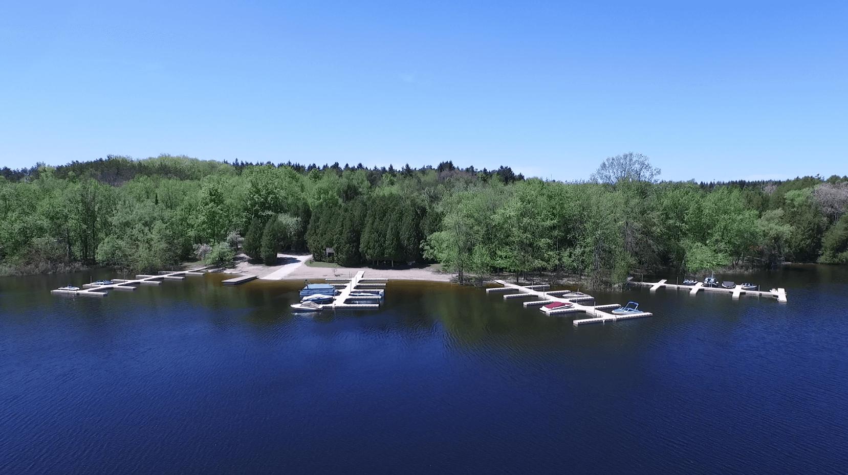 boat docks on water