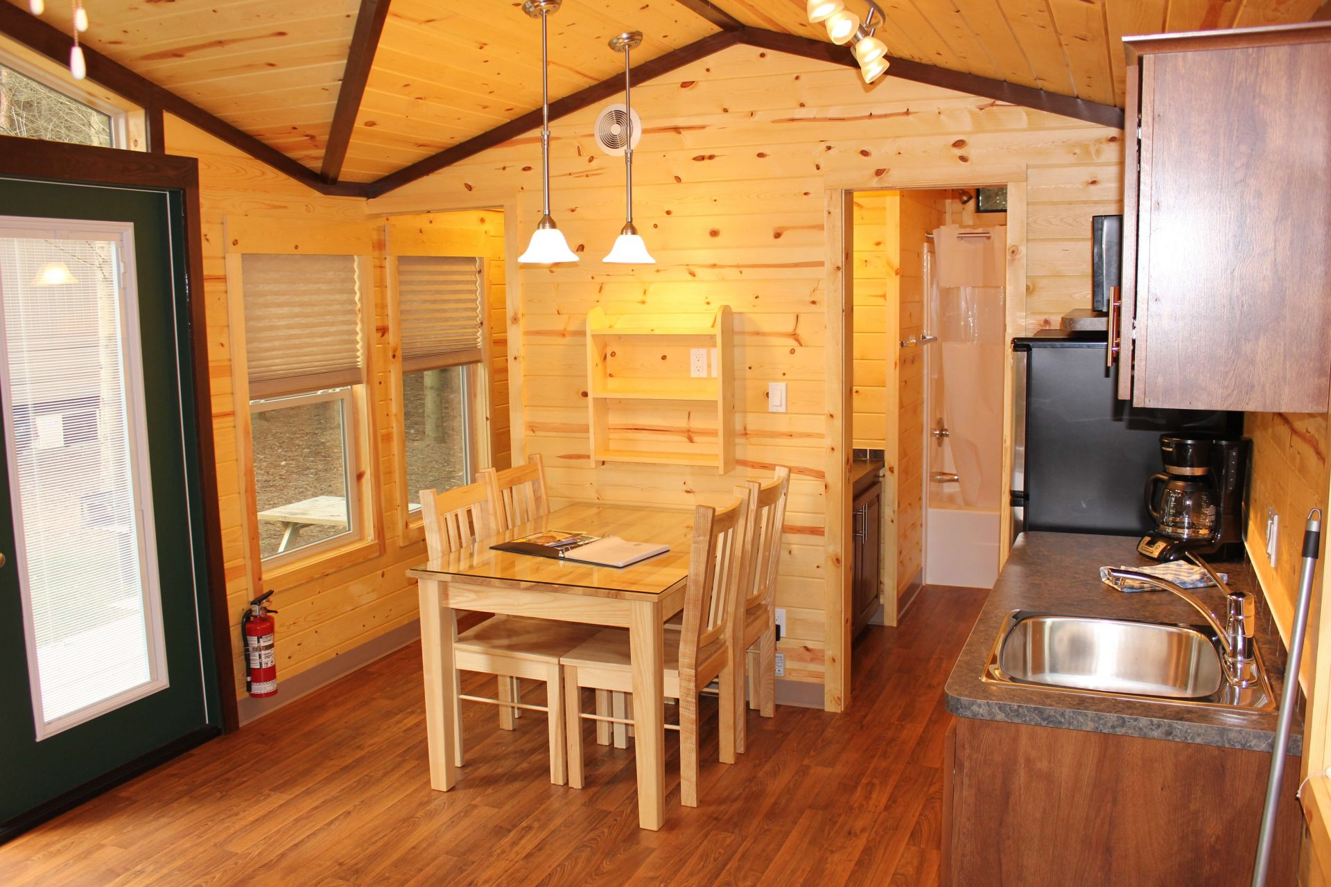 cabin interior with kitchen