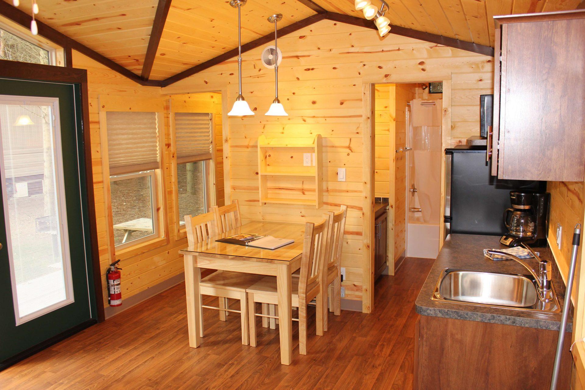 cabin interior with kitchen